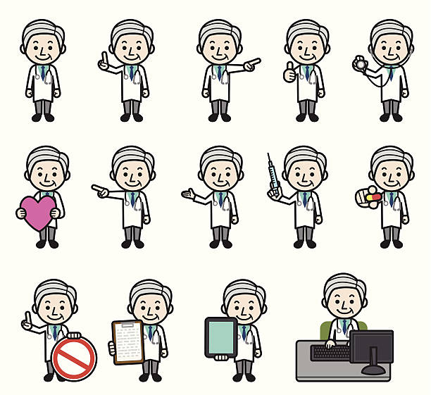 doctor set - old man showing thumbs up cartoons stock illustrations, clip art, cartoons, & icons