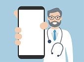 Doctor showing a blank smart phone screen. Cartoon vector stock illustration