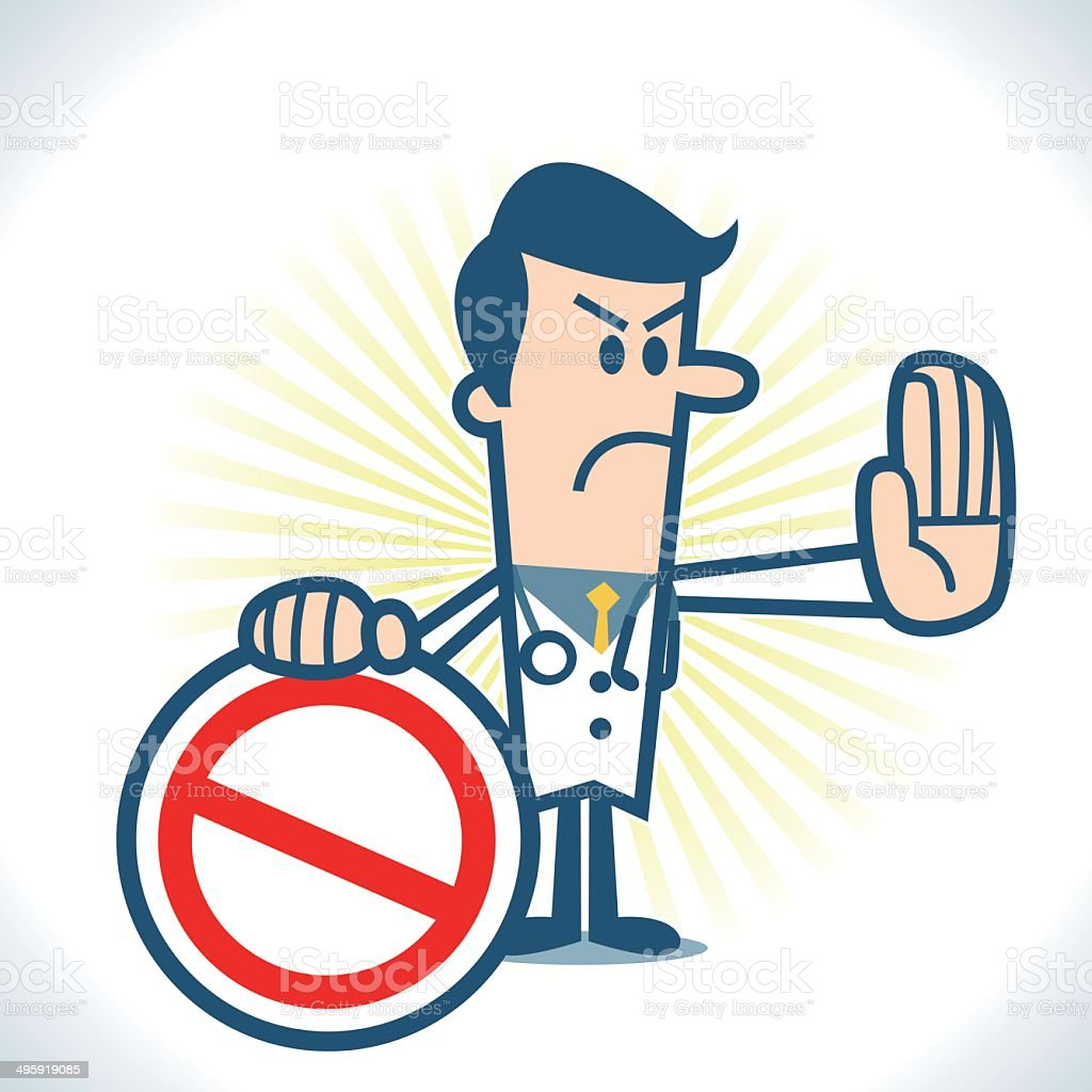 Doctor showing a prohibition sign vector art illustration