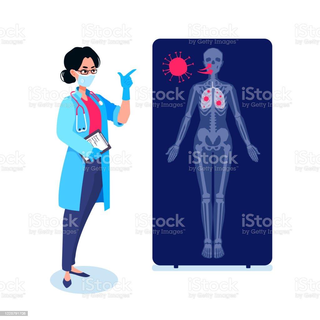 En läkare som visar hur coronavirusmolekyler infekterar en person på en röntgenbild. Skadade lungor infographic. COVID-19 kontamineringsprocessen. Människans anatomi, skelett. - Royaltyfri Anatomi vektorgrafik