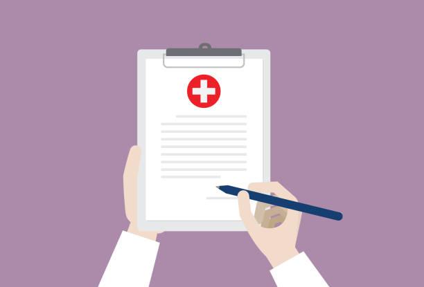 illustrations, cliparts, dessins animés et icônes de docteur signant un certificat médical - aide soignant