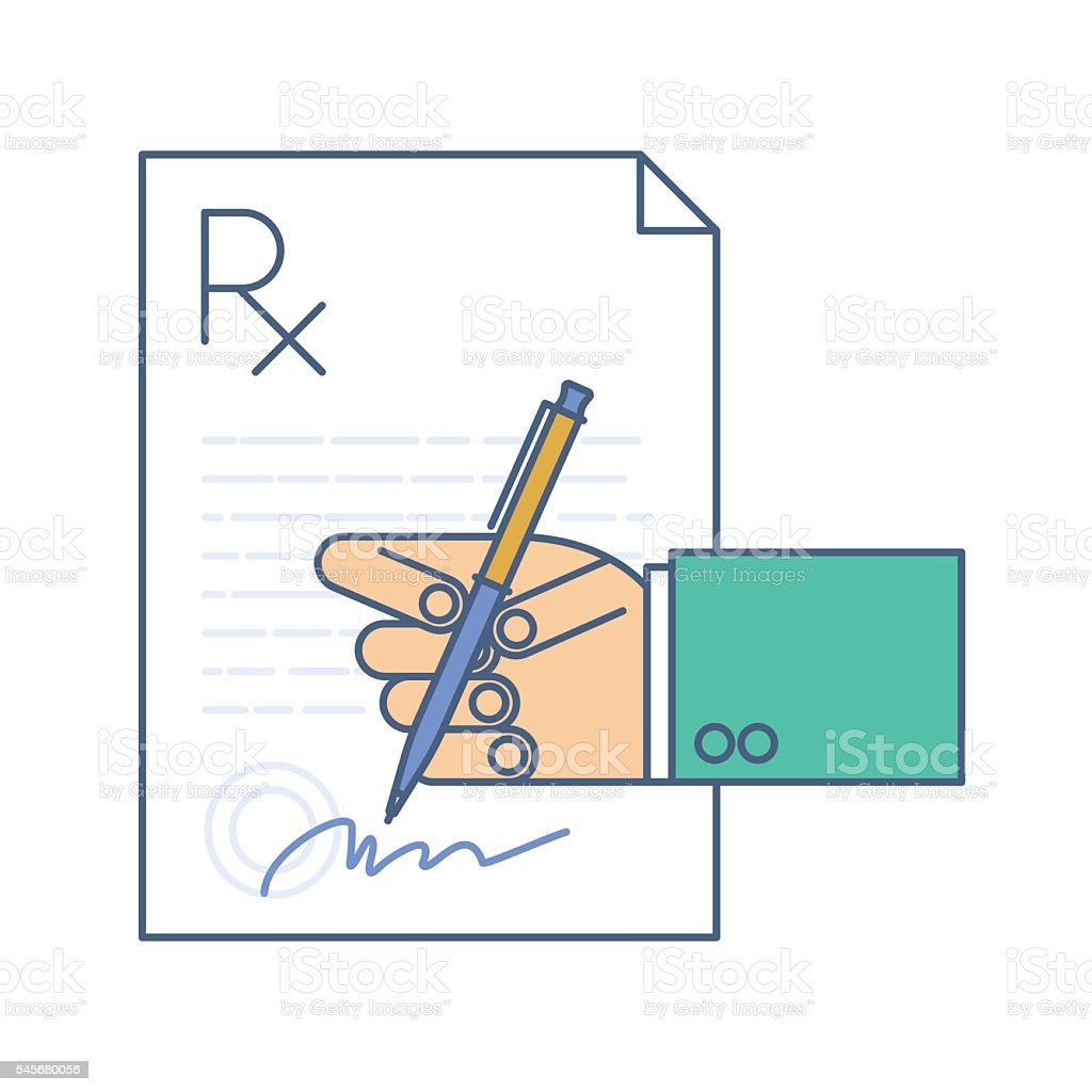 Doctor Signing A Rx Prescription Document Medicine Concept Line ...