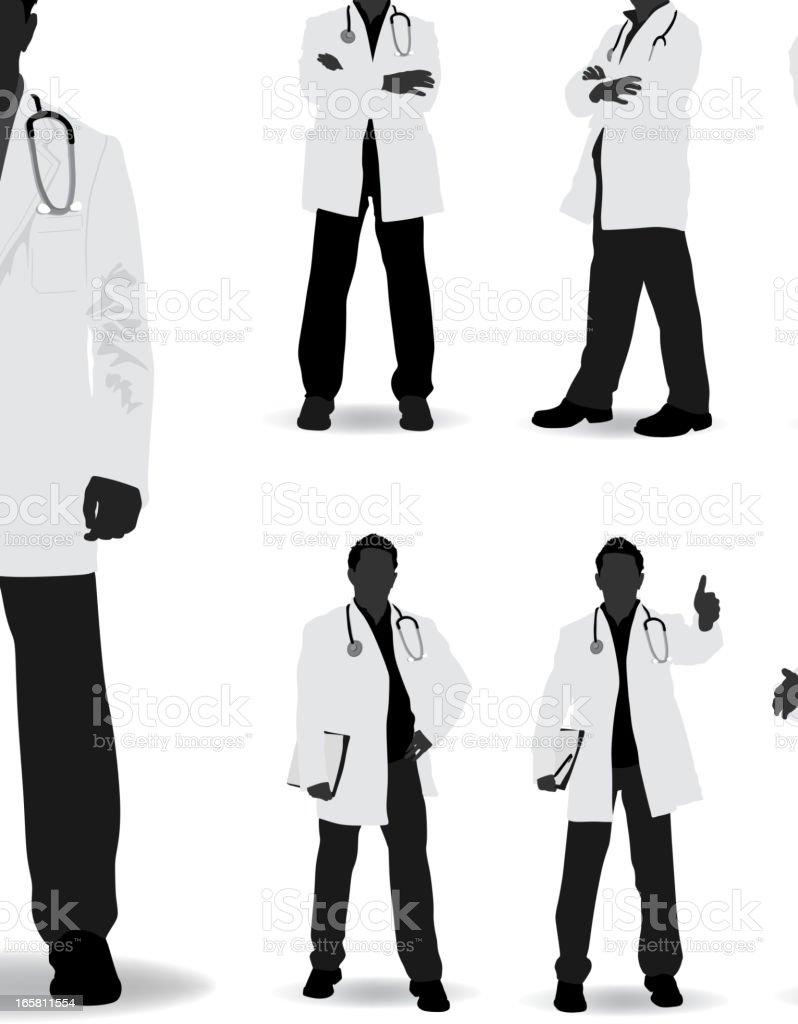 Médico silueta - ilustración de arte vectorial