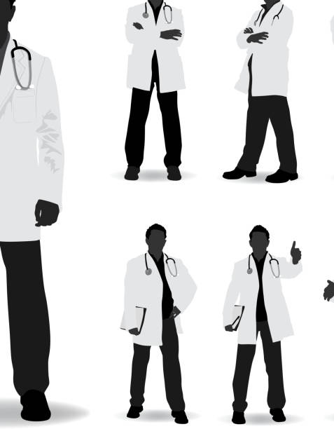 doctor silhouette - physician stock illustrations, clip art, cartoons, & icons