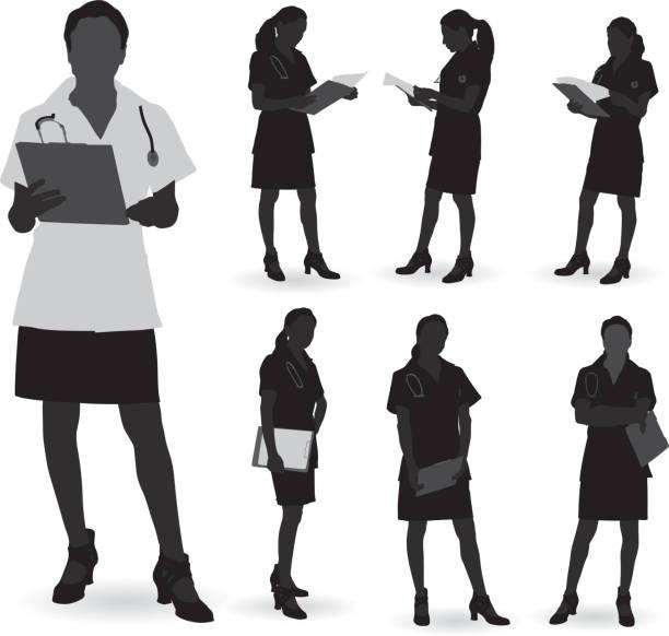 illustrazioni stock, clip art, cartoni animati e icone di tendenza di silhouette del medico - dottoressa