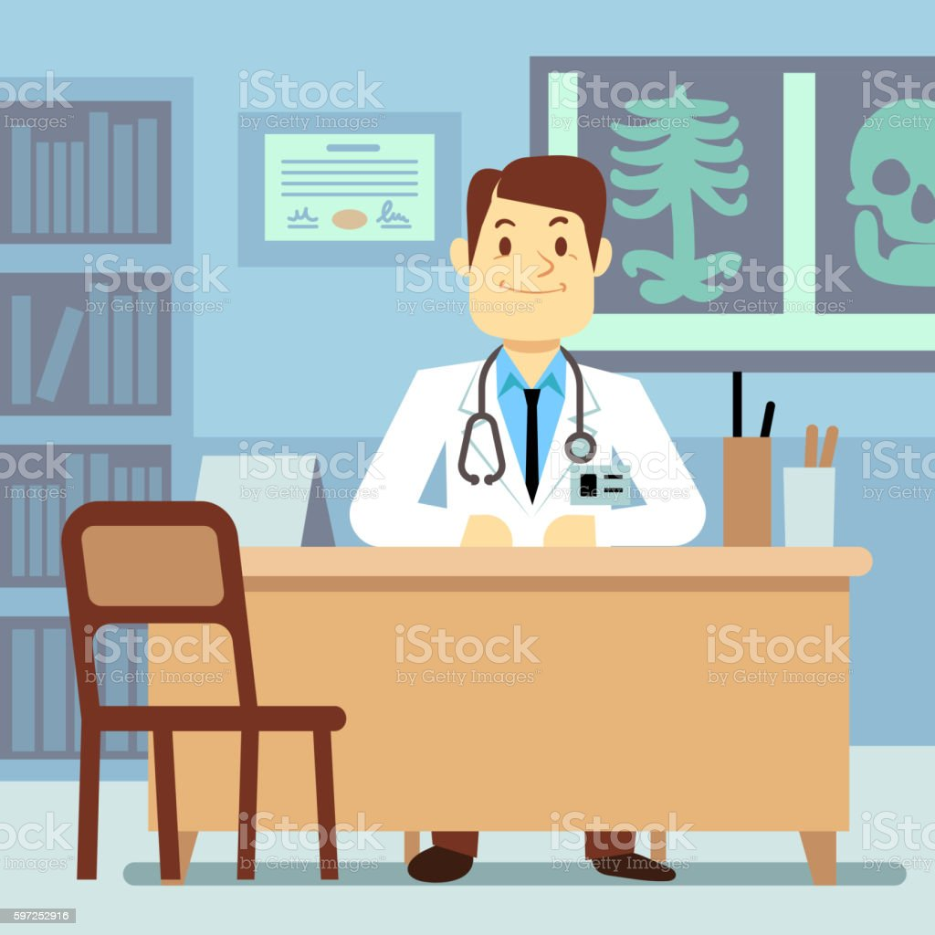 Doctor sitting at the table in medical vector healthcare concept vector art illustration