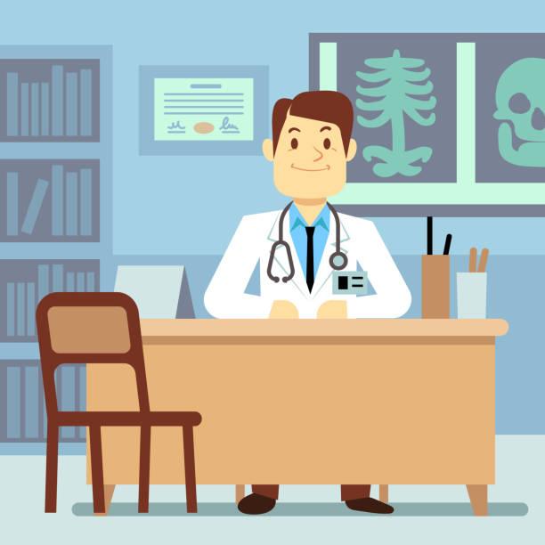 bildbanksillustrationer, clip art samt tecknat material och ikoner med doctor sitting at the table in medical vector healthcare concept - allmänläkare