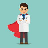 Doctor superman. Male doctor with a red cape. Vector illustration.
