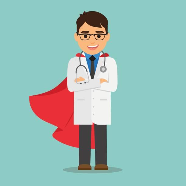 Médico superhéroe - ilustración de arte vectorial