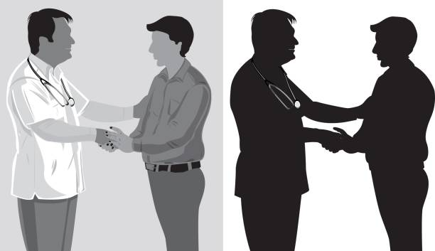 Doctor talking with a patient Doctor talking with a patient, silhouette medico stock illustrations