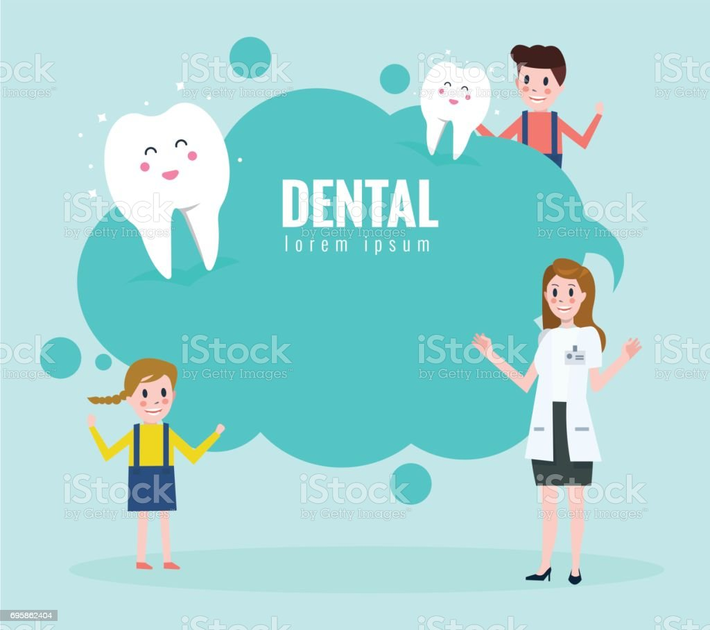 Doctor teaching about healthy teeth. Text bubble. vector art illustration