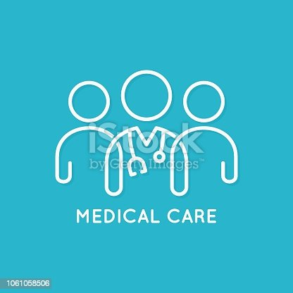doctor team icon line medical concept on blue background 10 eps