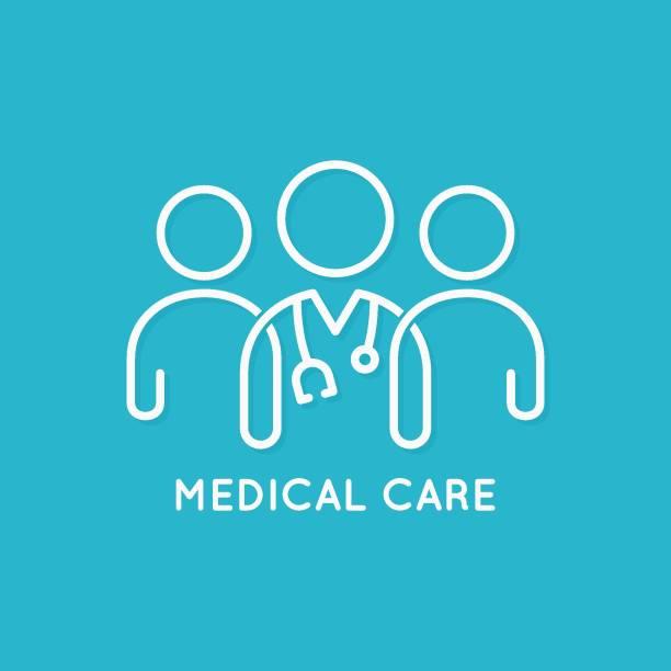 파란색 배경에 의사 팀 아이콘 선 의료 개념 - doctor stock illustrations