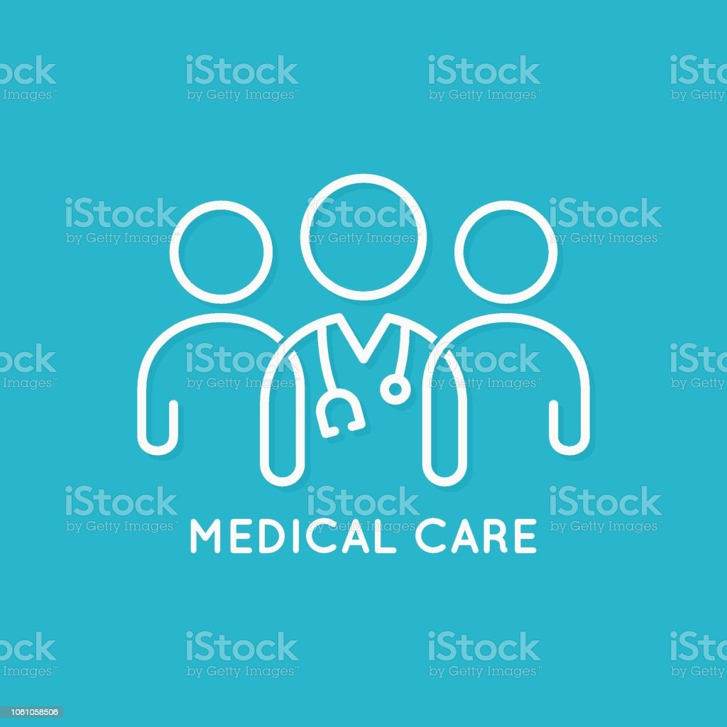 doctor team icon line medical concept on blue background vector art illustration