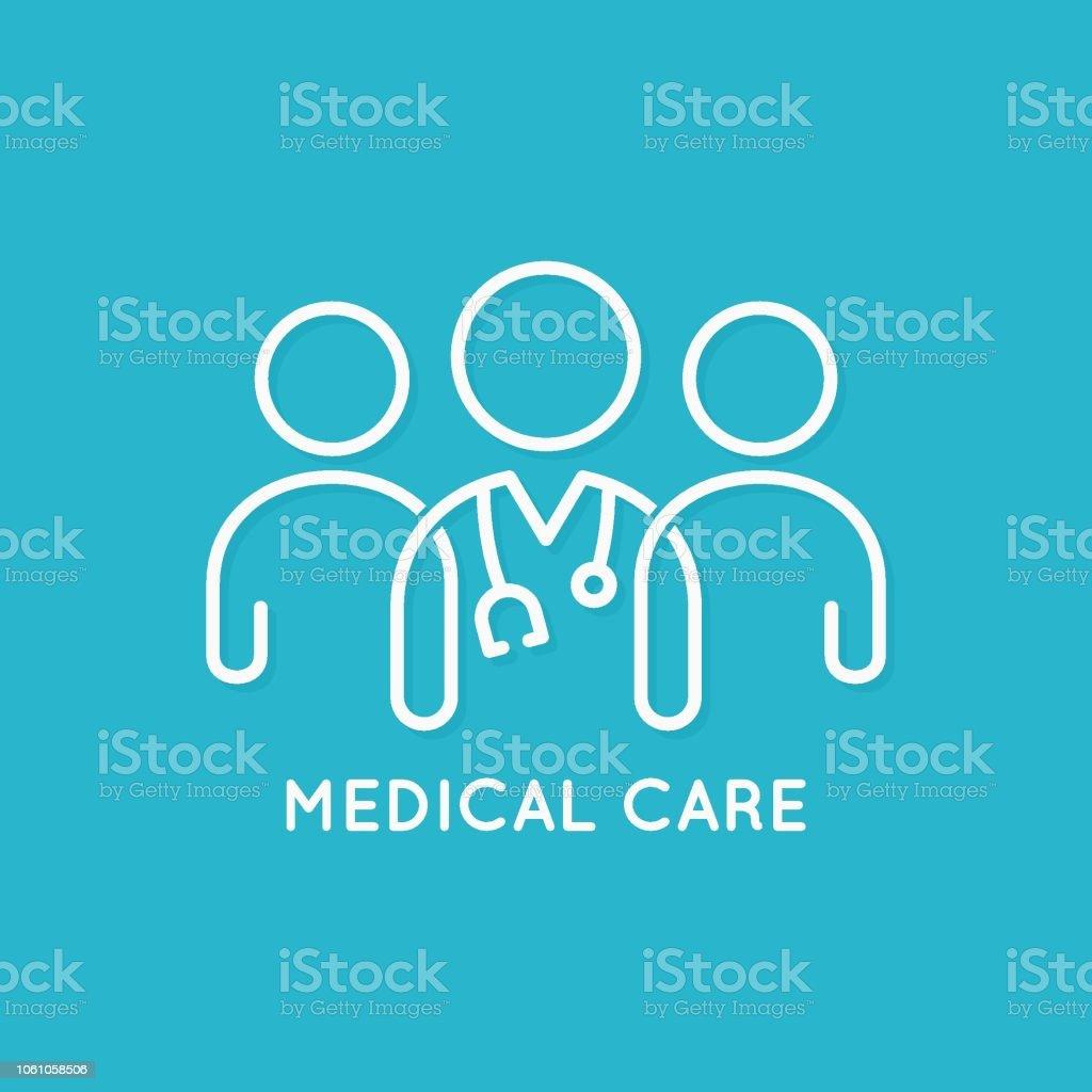 concept médical médecin équipe icône ligne sur fond bleu - Illustration vectorielle