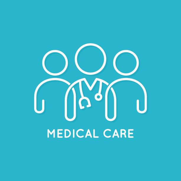 doctor team icon line medical concept on blue background - abstract silhouettes stock illustrations