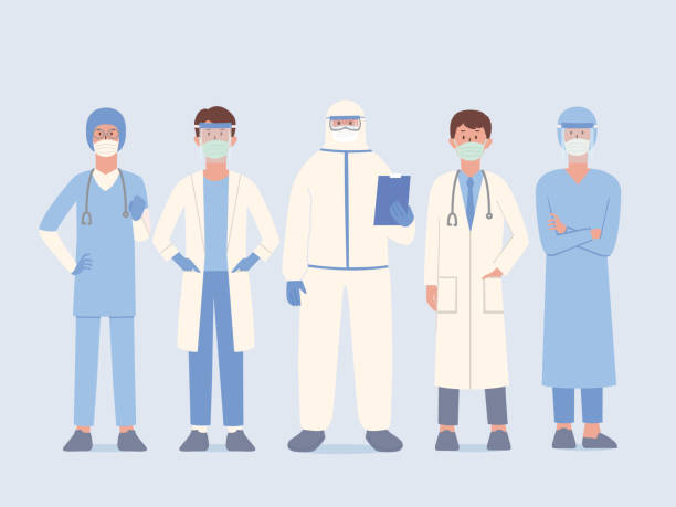 Doctor team in uniform and surgical mask and face shield and PPE suit standby for help Patient and work in stand pose. Staff prepare to protect people from virus and diseases. vector art illustration