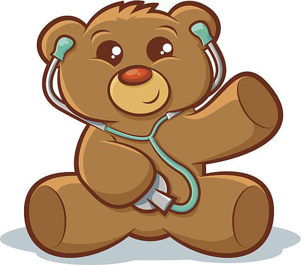 ilustrações, clipart, desenhos animados e ícones de médico e ursinho de pelúcia - pediatra
