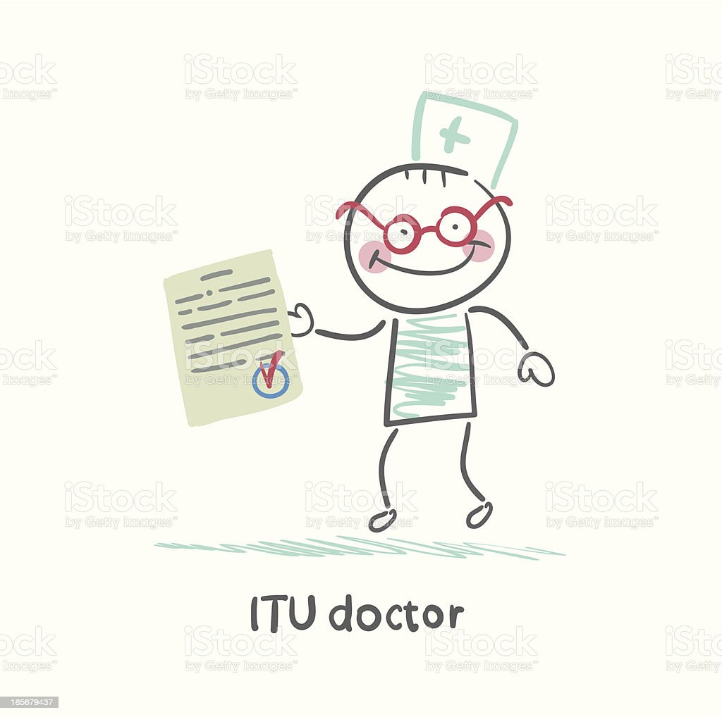 ITU doctor the document royalty-free stock vector art
