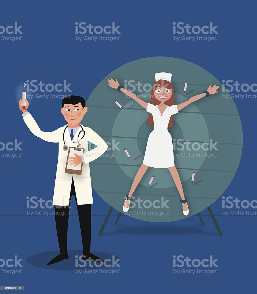 Doctor Throwing Syringes royalty-free doctor throwing syringes stock vector art & more images of chance