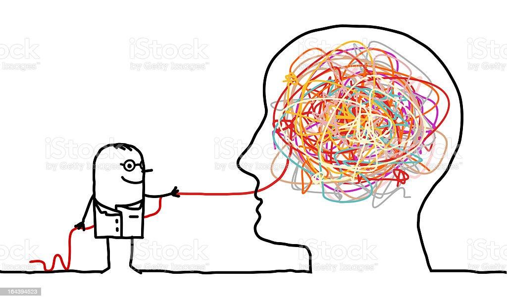doctor untangle brain knot vector art illustration