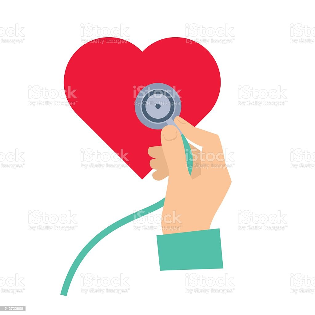 Doctor using a stethoscope to hear a heart pulse. vector art illustration