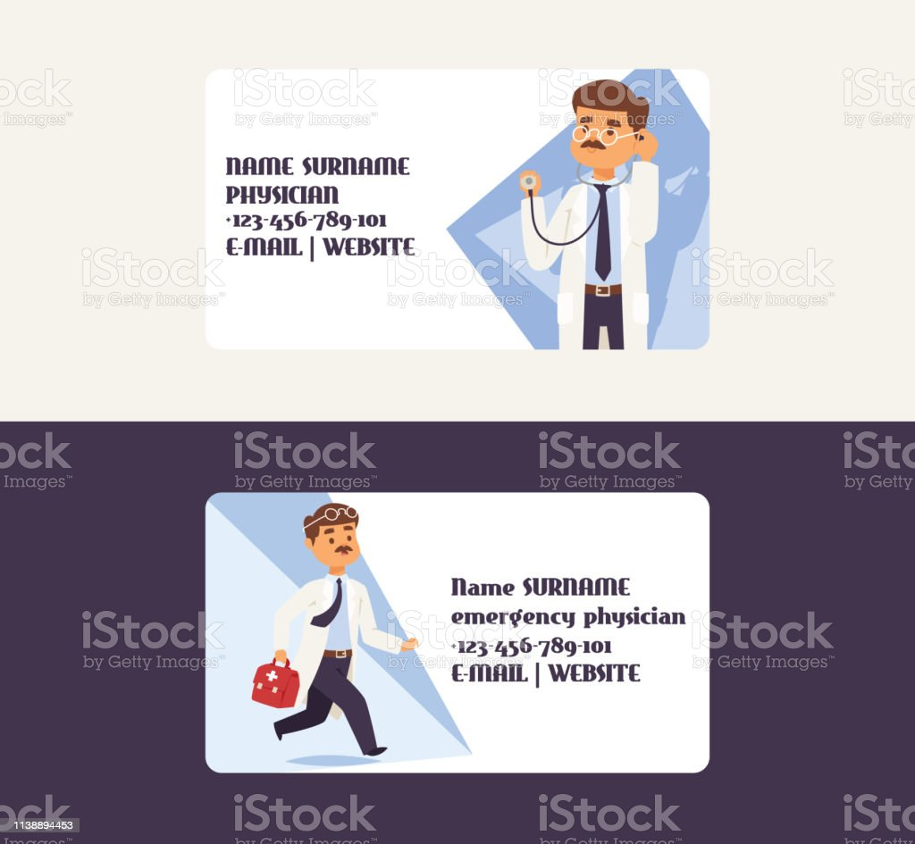 Doctor Vector Business Card Doctoral Character Professional