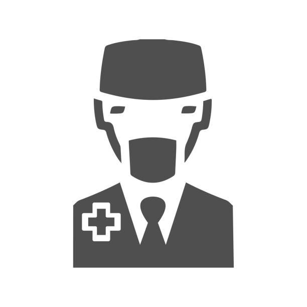 bildbanksillustrationer, clip art samt tecknat material och ikoner med läkare vektor symbol - endast en man