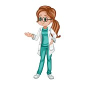 Cute Cartoon Illustration of a Female Doctor Isolated on White Background. Doctor Character Wearing White Gown