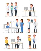 Doctors characters set. Doctors group, doctor with patient, doctor with computer. Vector illustration.
