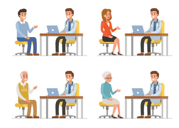 Doctor Doctor with different patients. Flat style vector illustration isolated on white background. doctor and patient stock illustrations