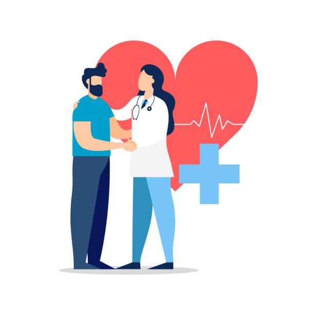 의학 개념에 대 한 환자와 의사 방문 - doctor stock illustrations