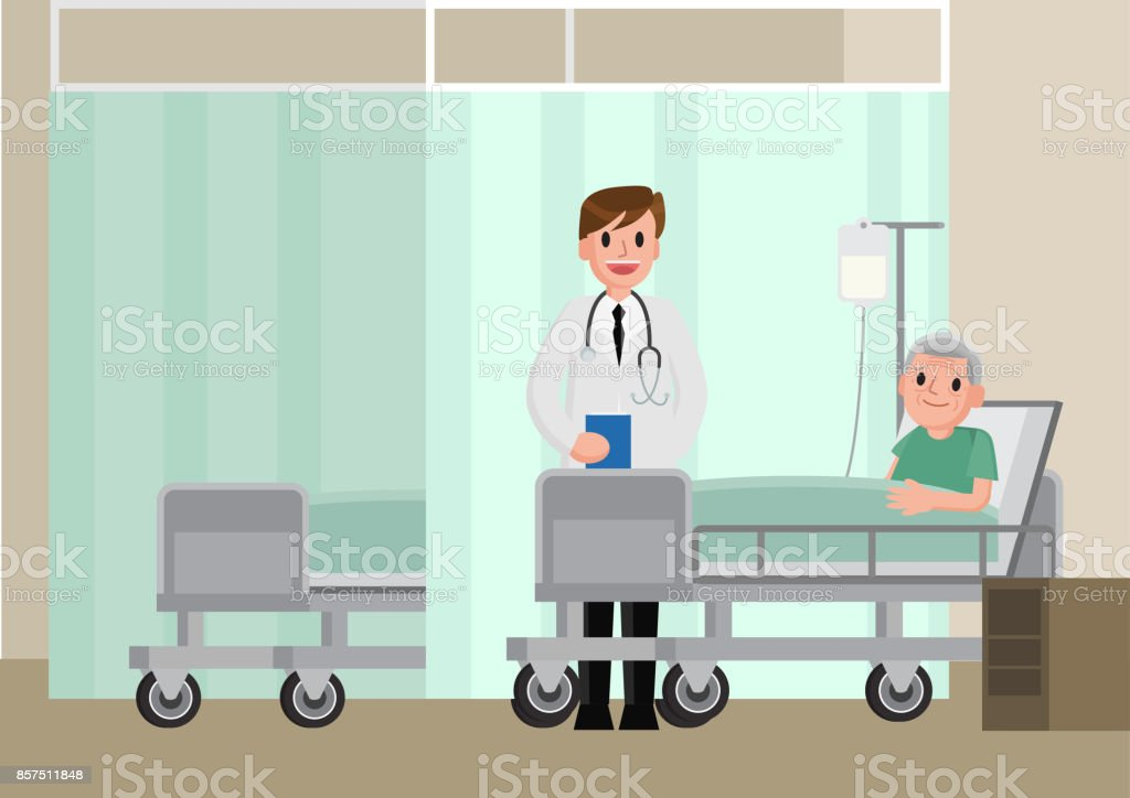 A doctor visits a patient lying on hospital bed. Senior man resting In a Bed. vector art illustration