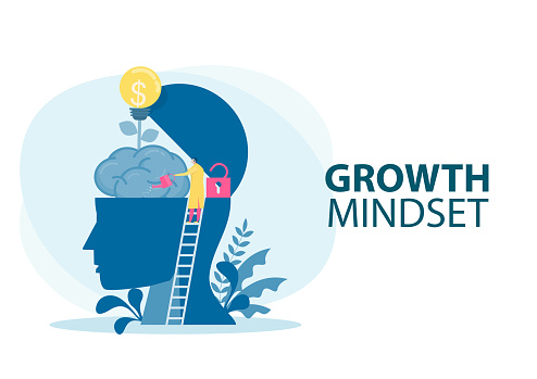 Doctor Watering plants with big brain growth mindset concept vector