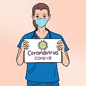 """A doctor wearing a face mask and hold a board showing """" Coronavirus COVID-19 """", illustration vector"""