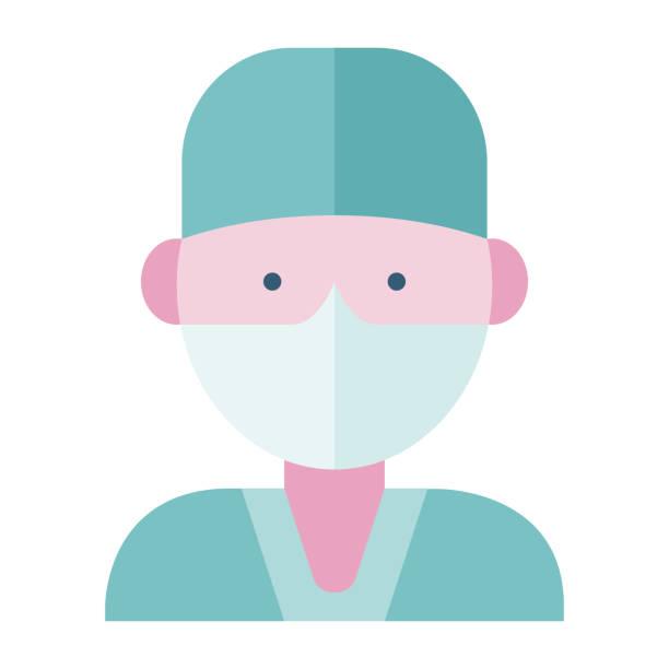 arzt trägt eine gesichtsmaske - ffp2 maske stock-grafiken, -clipart, -cartoons und -symbole