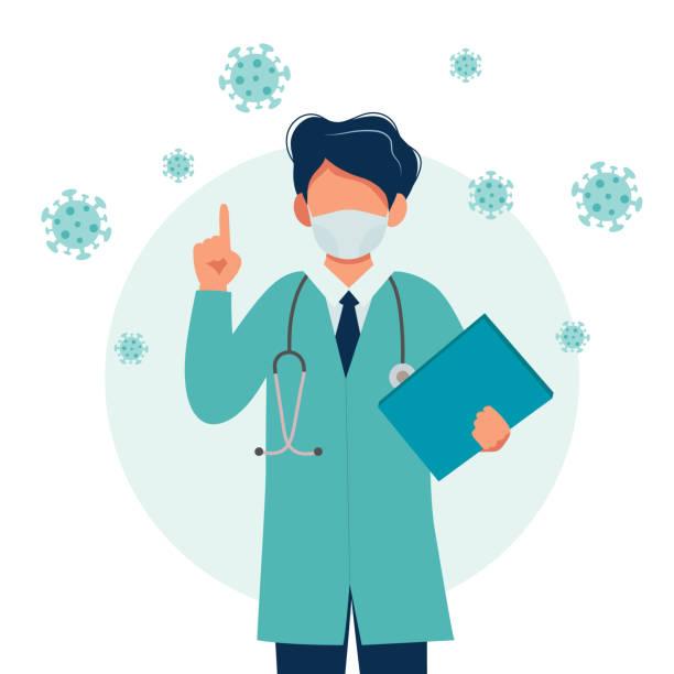 Doctor wearing a medical mask. Coronavirus outbreak concept. Vector illustration in flat style vector art illustration