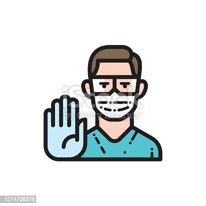 istock Doctor wearing medical face mask and disposable gloves showing stop gesture 1214706378
