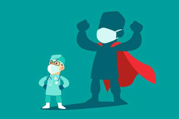 Arzt trägt medizinische Maske mit seinem Schatten als Superheld – Vektorgrafik