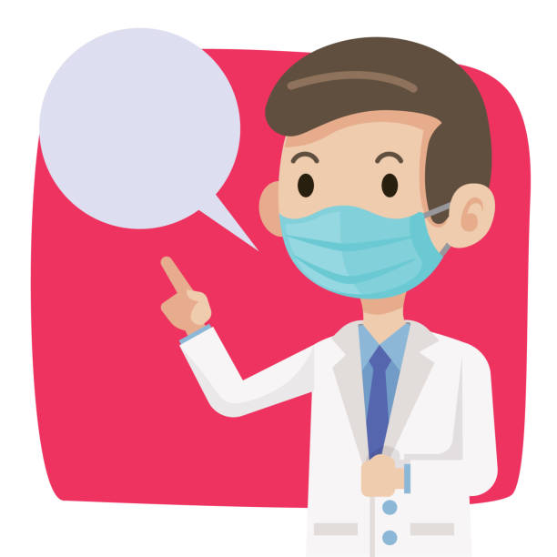Doctor wearing protective surgical mask for protect against virus Covid-19. Doctor advises public to wear surgical mask to protect against virus and bacteria. - vector character Doctor wearing protective surgical mask for protect against virus Covid-19. Doctor advises public to wear surgical mask to protect against virus and bacteria. - vector character medico stock illustrations