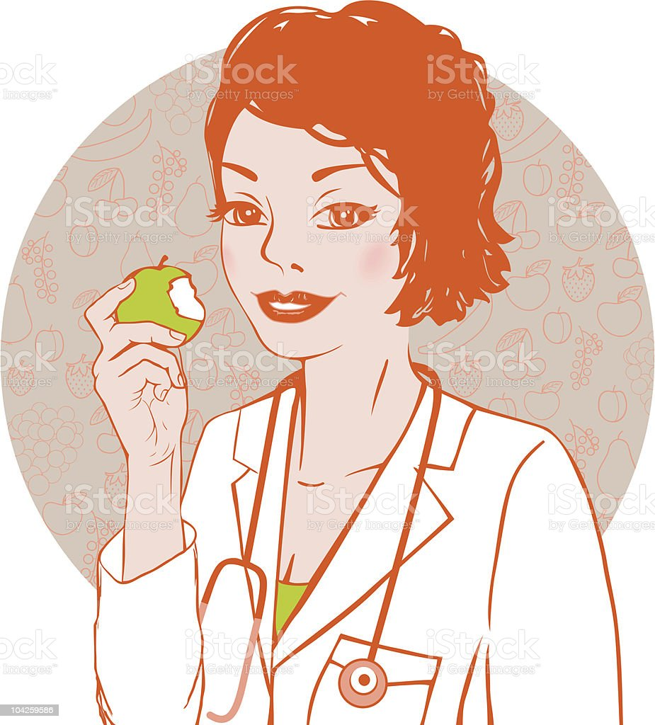 Doctor with apple royalty-free stock vector art