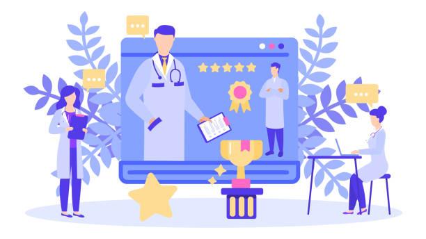 Doctor with best rating five star scores prize award vector illustration banner. vector art illustration
