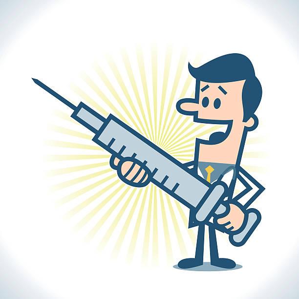 Doctor with big syringe Doctor with big syringe. male nurse stock illustrations