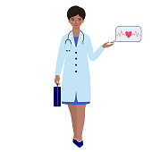 Woman doctor with briefcase and stethoscope on white background
