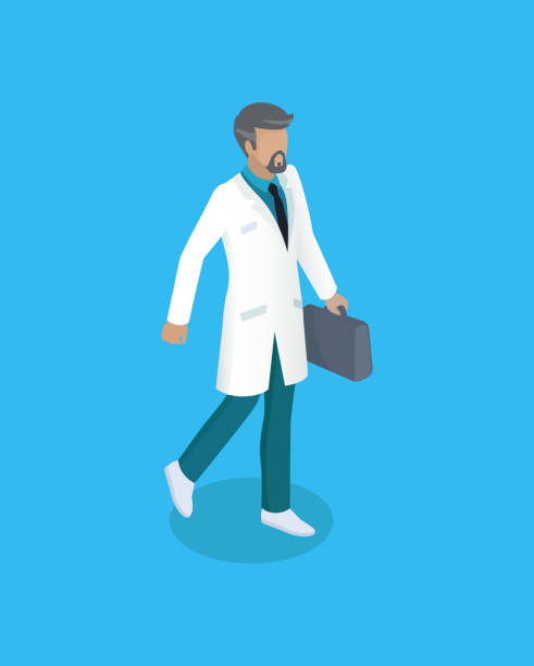 Doctor with Briefcase Icon Vector Illustration Doctor with briefcase icon closeup. Physician wearing white coat fist aid doc. Bearded man professional medical worker carrying bag isolated on vector medico stock illustrations