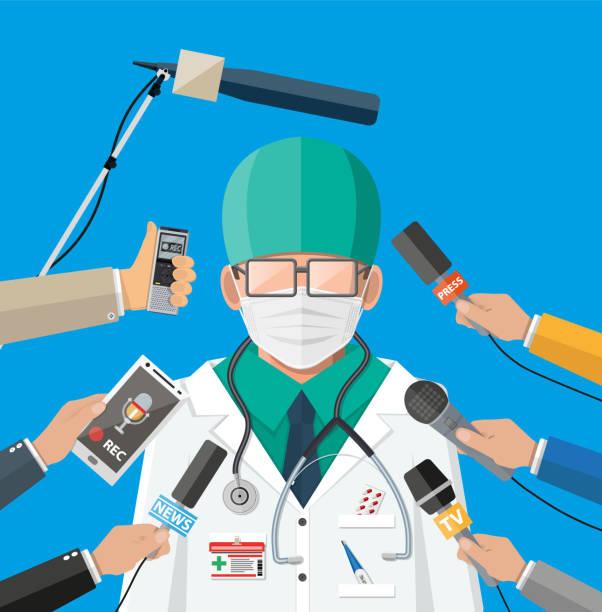 stockillustraties, clipart, cartoons en iconen met arts met gezichtsmasker dat toespraak bij conferentie geeft - journaal presentator