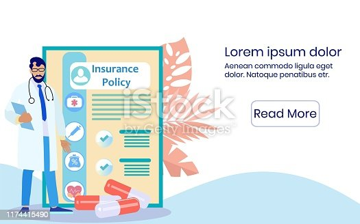 Man Doctor with Folder In Hand near Insurance Policy. Medical Policy. Vector Illustration. Reliable Protection. Health Insurance. Health Care. Website Screen. Bearded Man in White Coat and Glasses.