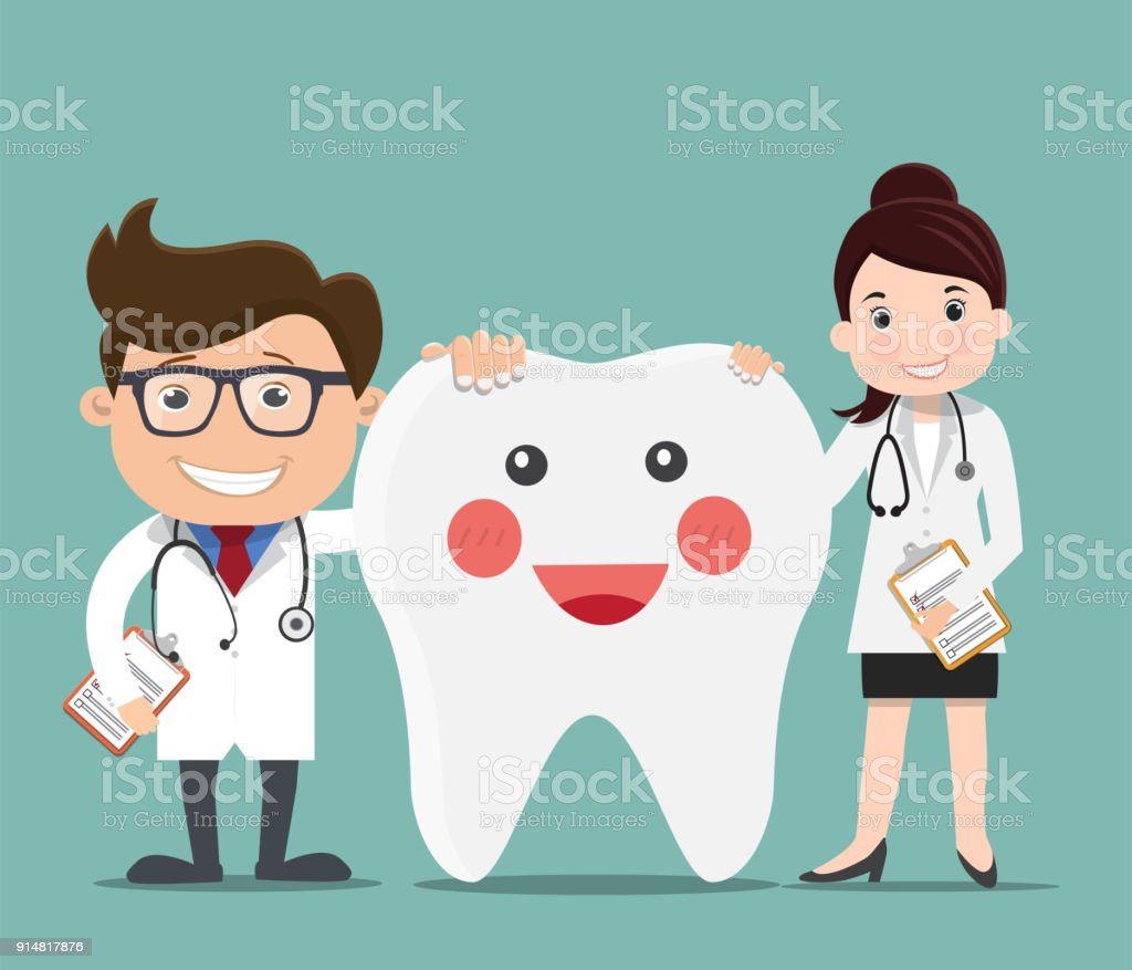 Doctor with Happy healthy teeth - Vector illustration vector art illustration