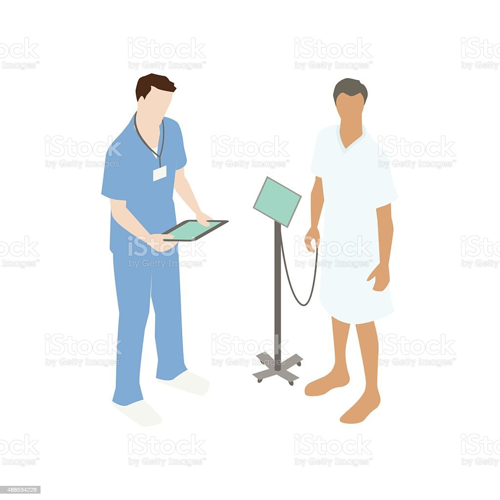 Doctor with hospital patient vector art illustration
