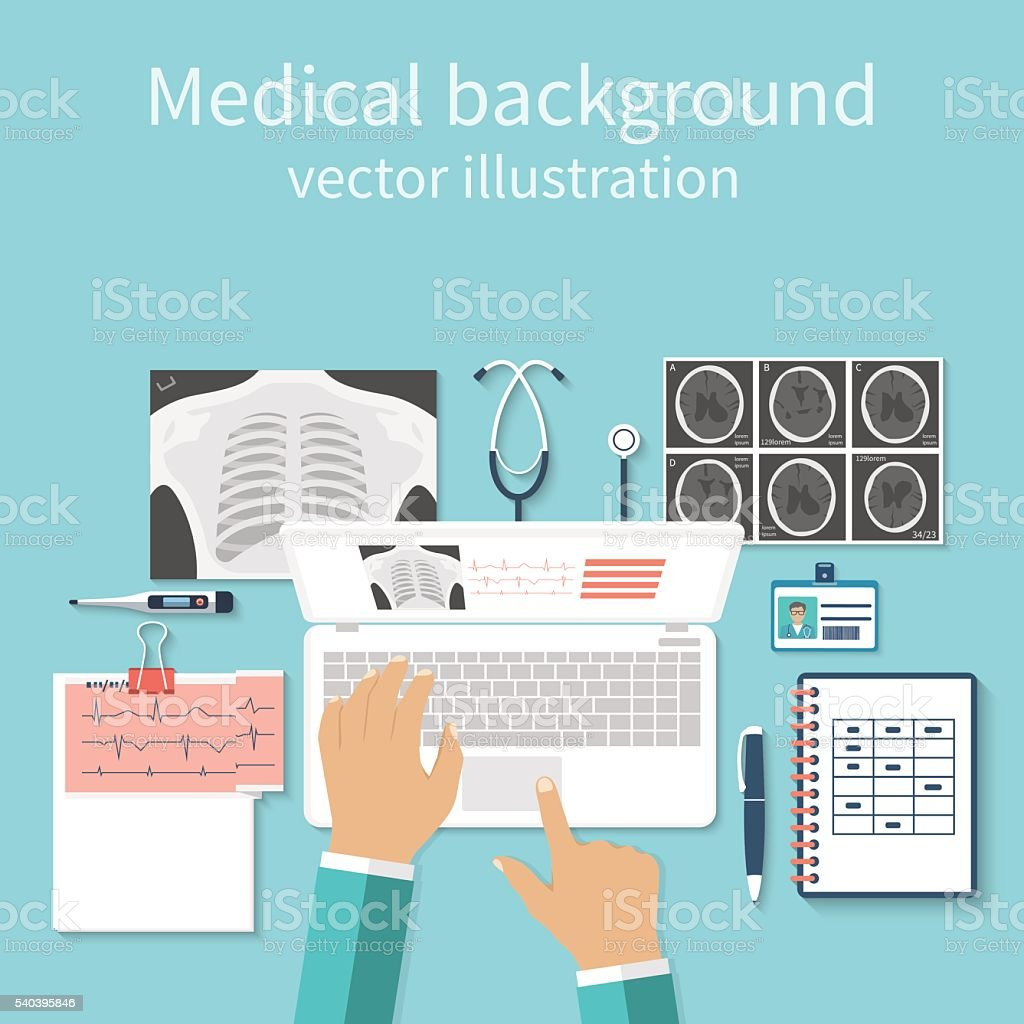 Doctor with laptop his desk studying documents of diagnostic res vector art illustration